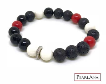 Black, red and white diamond bracelet