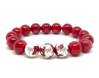 Red coral and Sterling silver plated bracelet