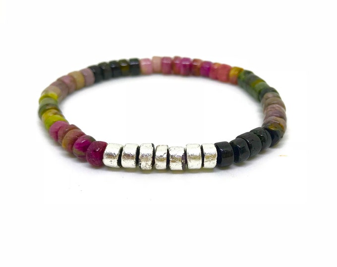 Watermelon Tourmaline Bracelet with Sterling silver