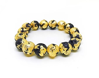 24k gold leaf bracelet with lava stone