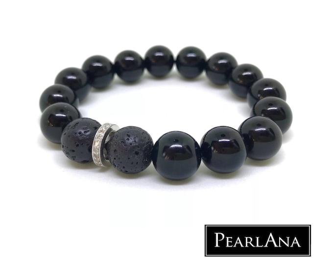 Black onyx and 0,22 carat male bracelet