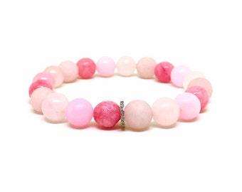 Pave diamond, pink agate, pink jade and rose quartz bracelet