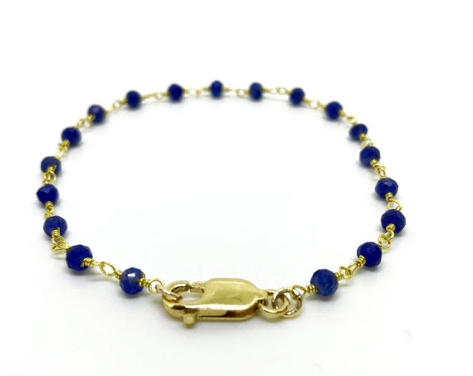 Sapphire chain bracelet, Real blue sapphire jewelry with 14 k gold plated chain, Horoscope bracelet, September birthstone bracelet