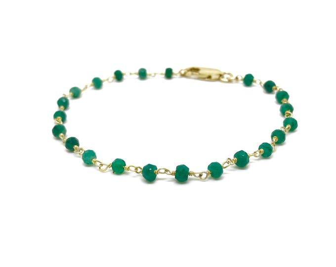 Featured listing image: Real green emerald bracelet with 14K gold over Sterling silver chain