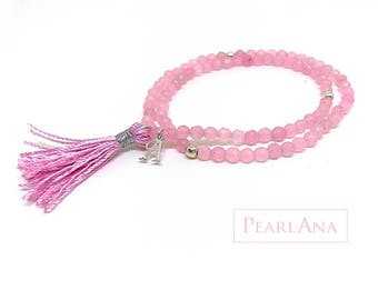 Versatile bangles bracelet with small pink gemstone bead