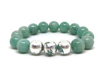 Sterling silver and amazonite gemstone bracelet
