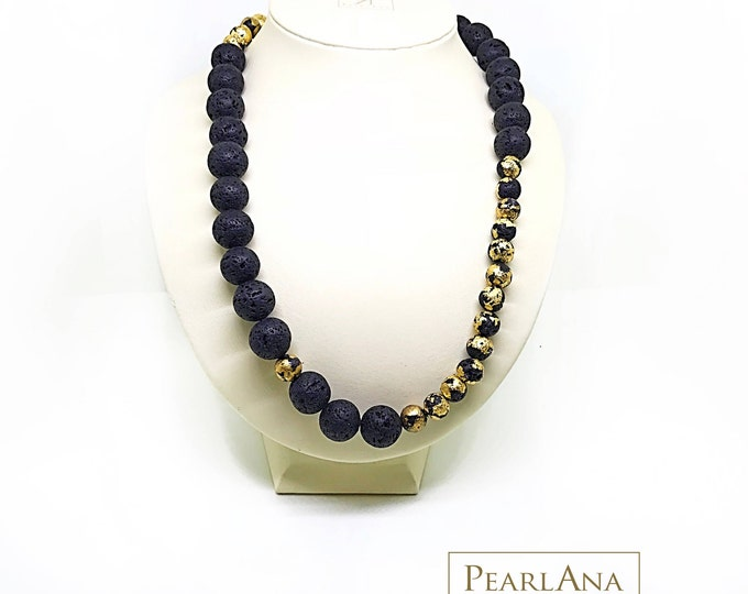 24K gold plated, black lava rock beaded necklace