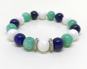 Green, white, blue gemstones and real pave diamond bracelet