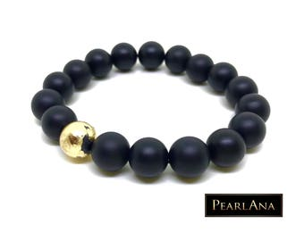 24 karat gold plated bracelet with black onyx