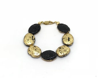 24k gold and lava stone bracelet