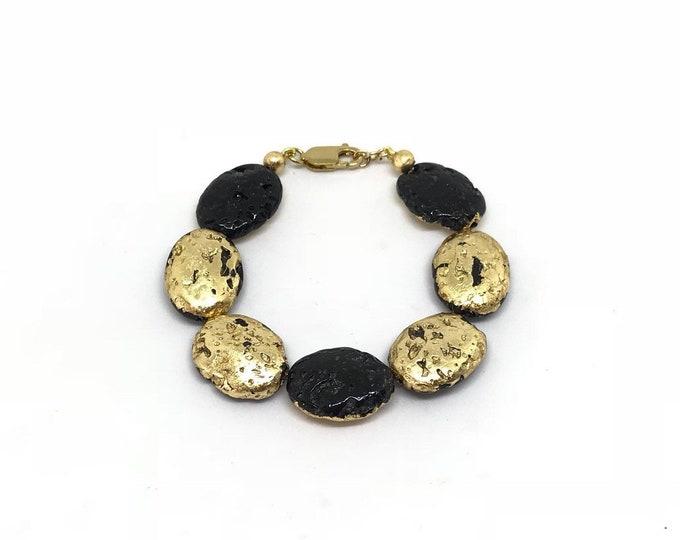 24k gold and lava stone bracelet