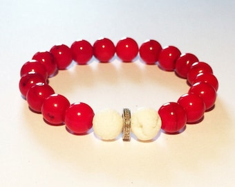 Red coral pave diamond male bracelet