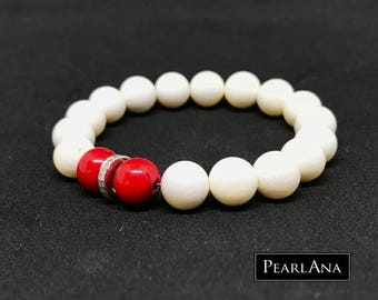 White coral, red coral and pave diamond bracelet