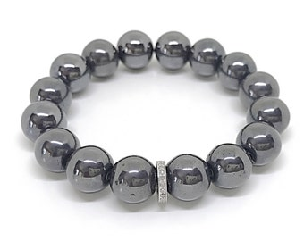 Gray hematite gemstone and pave diamond bracelet