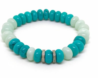 Turquoise gemstone and pave diamond bracelet