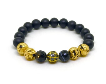Diamond men bracelet with 24k gold