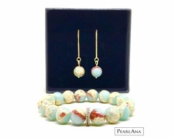 White topaz bead and blue jasper bracelet