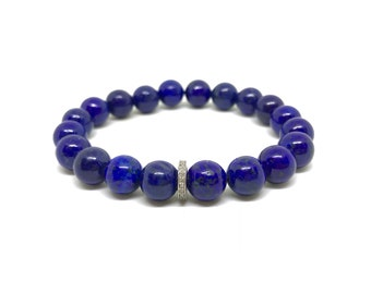 Blue lapis gemstone bracelet with 0.22 carat diamond