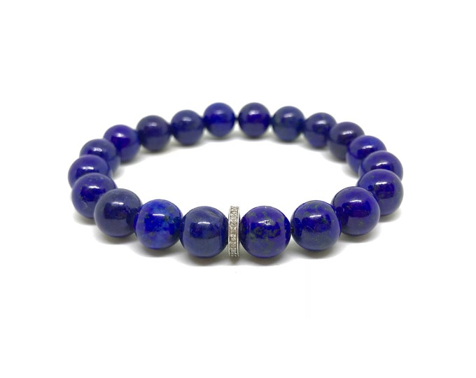 Featured listing image: Blue lapis gemstone bracelet with 0.22 carat diamond