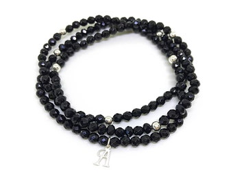 Natural, small bead, black onyx versatile bracelet