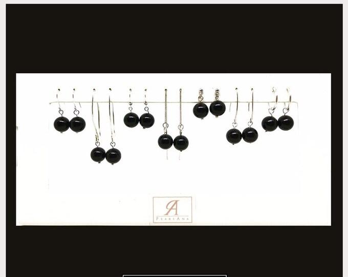 Featured listing image: Black onyx gemstone Sterling silver drop earrings