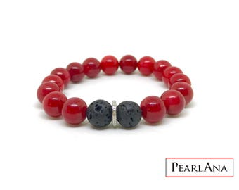 Red coral and 0,22 carat diamond male bracelet