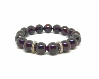Pave diamond and natural garnet gemstone bracelet