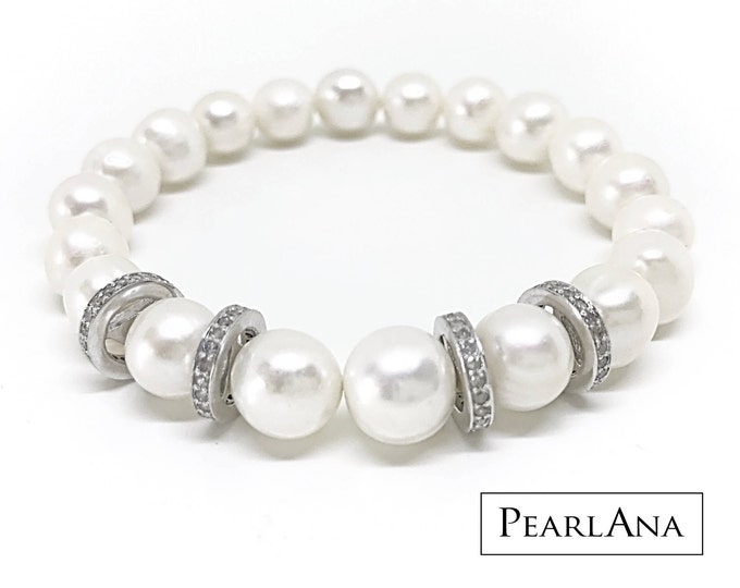 White cultured pearl and 0.88 carat diamond bracelet