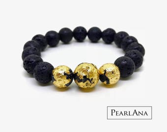 24K gold leaf and black lava stone bracelet
