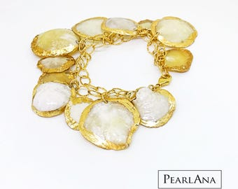 24K gold plated Capiz shell beach bracelet