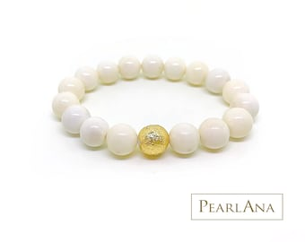 White coral and 24 karat gold leaf bracelet