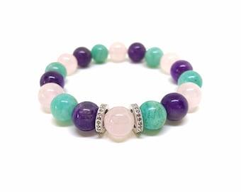 Amethyst, rose quartz, amazonite and pave diamond bracelet