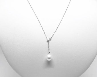 White freshwater pearl adjustable, chain necklace