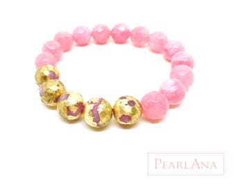 24K gold leaf and pink gemstone bracelet