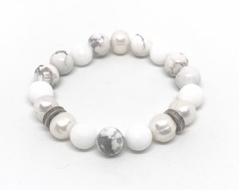 Pearl, howlite, agate and pave diamond bracelet
