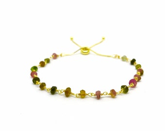 Tourmaline gemstone and 14k gold chain bracelet