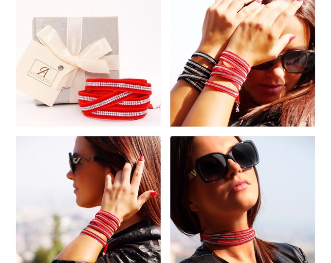 RED wrap versatile bracelet with swarovski crystals