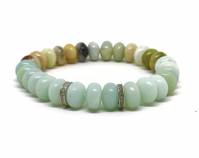 Pave diamond and natural amazonite bracelet