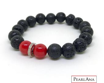 Black lava stone, red coral and pave diamond bracelet