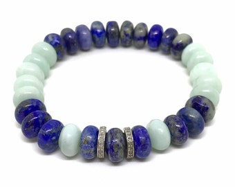 Minimalist blue lapis gemstone, natural amazonite and pave diamond bracelet