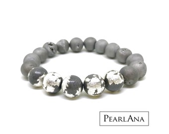 Gray Sterling silver and druzy stone bracelet