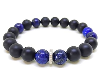 Natural lapis lazuli, natural onyx and pave diamond bracelet