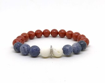 Red, white, blue coral and diamond bracelet