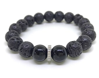 Black lava stone, onyx and pave diamond bracelet