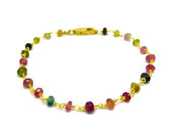 Real tourmaline jewelry with 14k gold plated chain