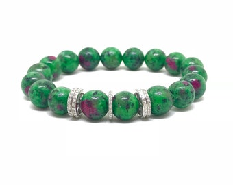 Natural ruby epidote gemstone and pave diamond bracelet