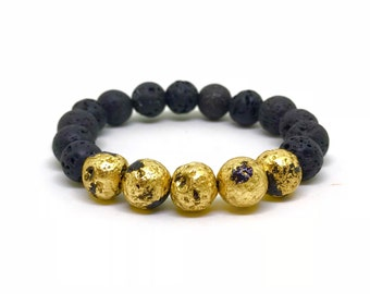Personalized 24k gold and black lava stone bracelet