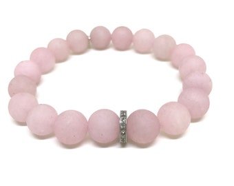 Pink bracelet Rose quartz Diamond bracelet Matte pink bead stretch beaded pave diamond love stone January birthstone fertility protection