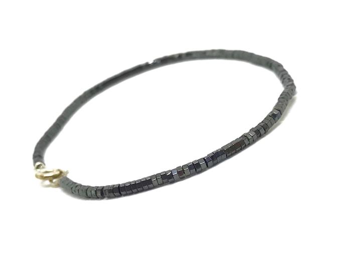 Tiny hematite gemstone bracelet with Sterling silver clasp