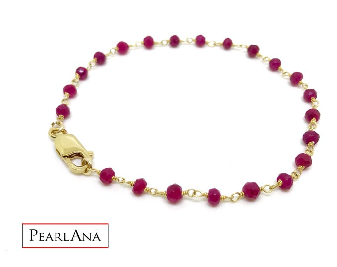Real red ruby jewelry with 14 k gold plated chain
